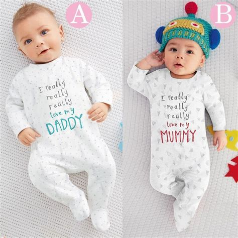 Baby clothes 2016 newborn baby clothes daddy and mummy lovely rompers