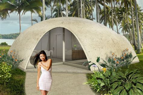 colorful binishell dome homes made from