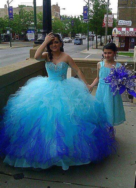 cute quince dress light blue  bluish  bottom xv
