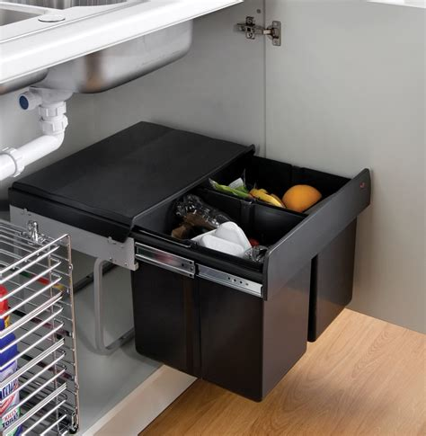 under cabinet trash bins the wesco shorty internal waste bin with two bin