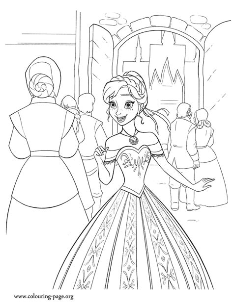 frozen story coloring pages frozen anna excited with the ceremony coloring page