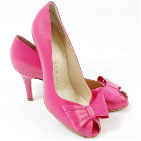 pink shoes kaiser stella peep toe court shoes medium heel