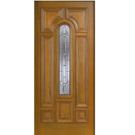 Solid Wood Front Doors With Glass Door 36 In X 80 In Mahogany Type Arch Glass Prefinished Golden Oak Beveled Zinc Solid