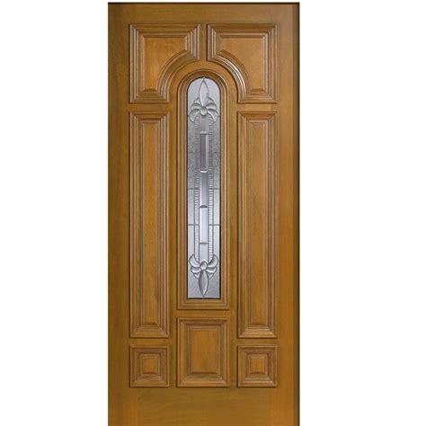 Solid Wood Front Door With Glass Door 36 In X 80 In Mahogany Type Arch Glass Prefinished Golden Oak Beveled Zinc Solid