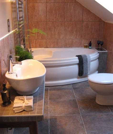 corner bathroom design idea for small space with oval tub decorating tips for smaller en suite bathrooms