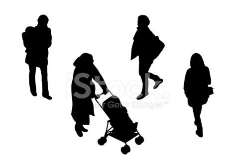 People Walking Top View Silhouettes Set 3 stock photos
