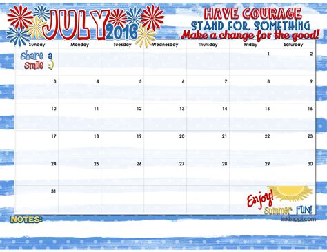 Is Calendar Free July 2016 Calendar And Print Inkhappi