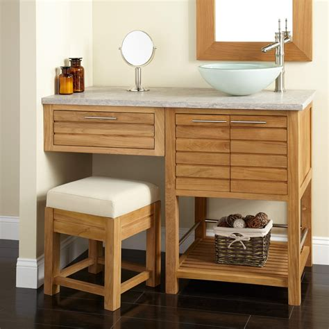 bathroom with makeup vanity 48 quot salinas teak vessel sink vanity with makeup area