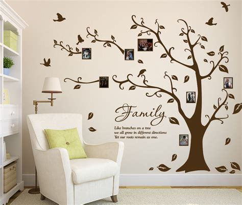 Large Wall Art Stickers large family photo tree amp birds art vinyl wall sticker