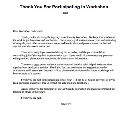 Thank You Letter Template Participation Thank You For Participating Writing Professional Letters