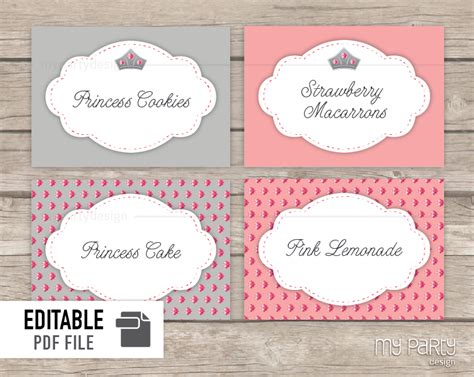 printable party labels princess birthday party printable food labels my party