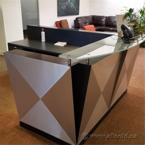 Reception Desk With Transaction Counter Contemporary 78 X 96 Reception Desk W Glass Transaction Counter Allsold Ca Buy Sell Used