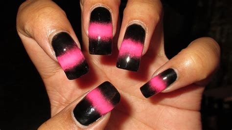 easy nail art black and pink black pink sponged nail art tutorial youtube