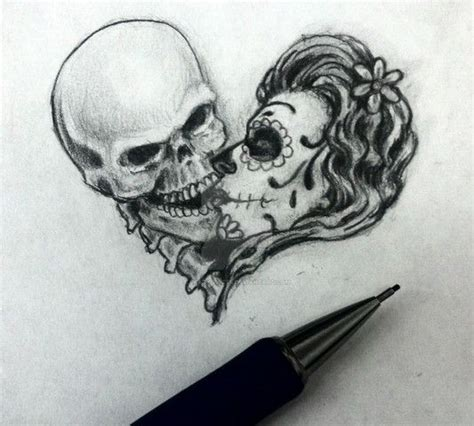 skull kissing tattoo skull images designs