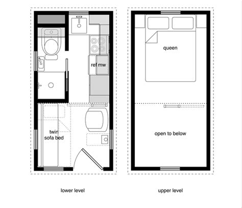 Home Design 8x16 by Tiny House Floor Plans With Lower Level Beds Tiny House
