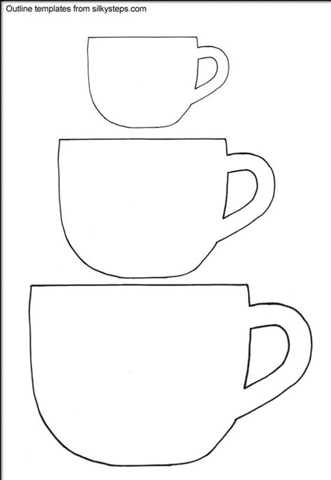 teacup outline templates templets for cards pinterest