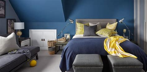 Blue Grey Yellow Bedroom by Gray Bedroom With Yellow Sofa Design Ideas
