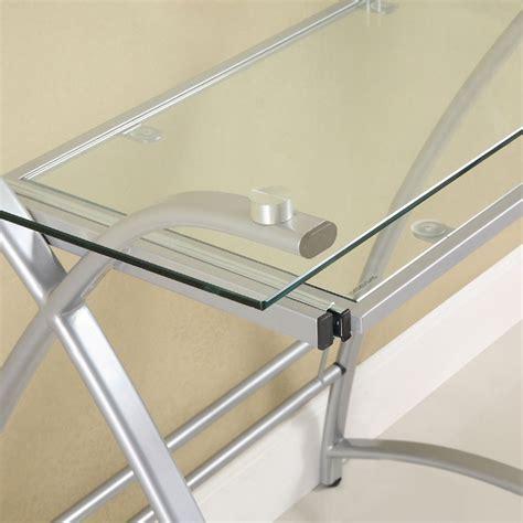 glass l shape computer desk with silver frame finish walker edison alexa l shaped glass computer desk silver