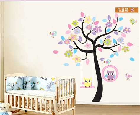 roommates repositionable childrens wall stickers removable wallpaper large owls tree wall stickers for