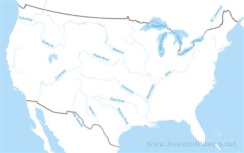 maps of the united states with rivers images