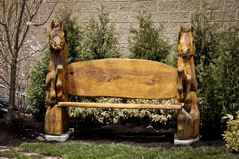 carved horse bench custom sculpture sign company