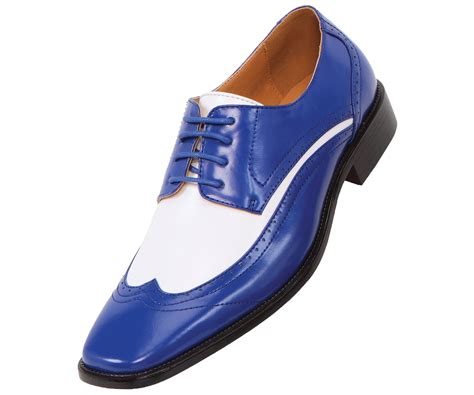 amali mens two tone royal and white oxford dress shoe