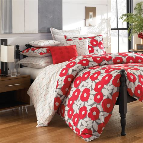 poppy bedding red poppy cotton percale 3 piece duvet cover set with