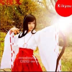 Kikyou cosplay costumes japanese anime inuyasha kimono clothing white