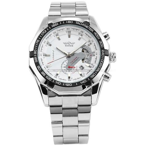 Automatic Silver List White winner brand automatic self wind wristwatches analog white silver stainless steel band sport