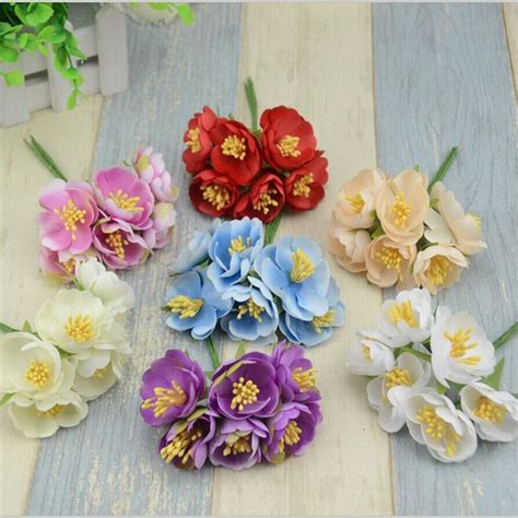Handmade Paper Flower Bouquet - 6pcs lot mini silk artificial flowers bouquet wedding