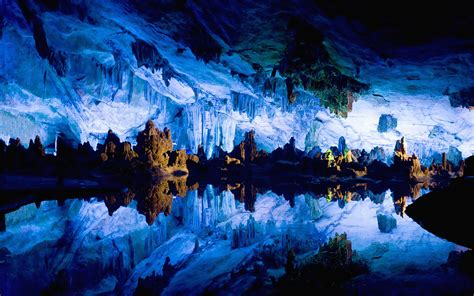 Reed Flute Cave China by Guilin China Desktop Bing Images