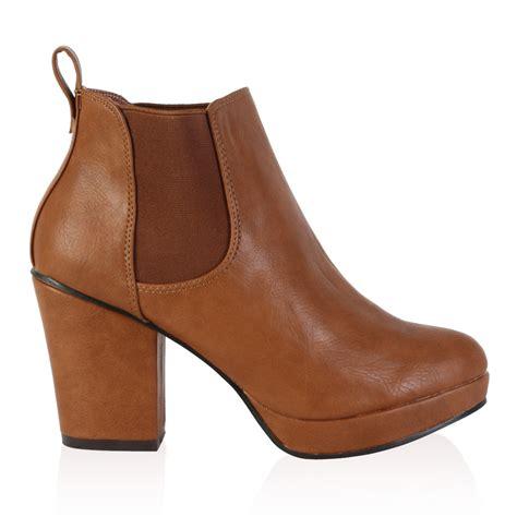 ankle heel boots womens brown platform block heel chelsea ankle