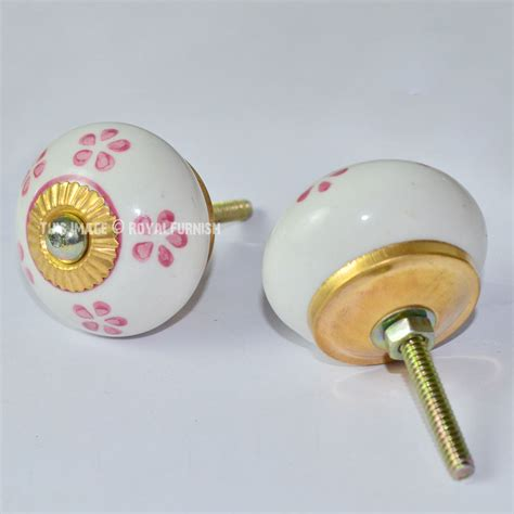 Floral Drawer Knobs Floral Painted White Ceramic Drawer Dresser Knobs Set Of