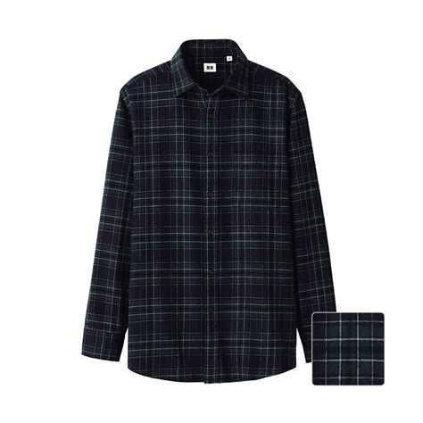 uniqlo flannel check sleeve shirt in green for green lyst
