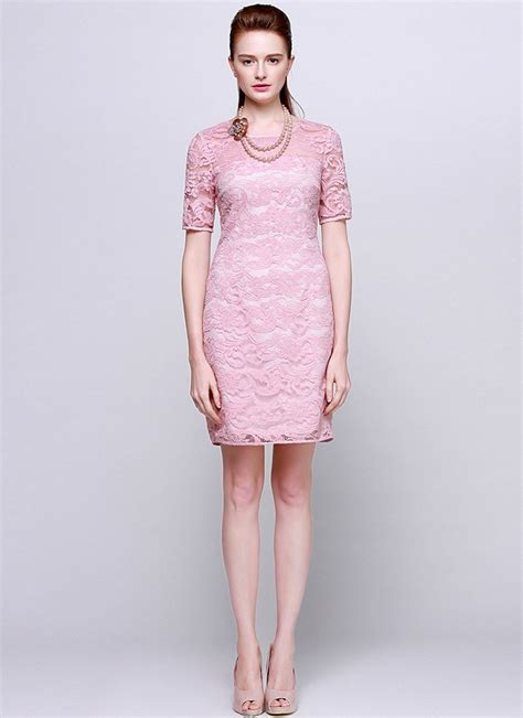 Premium Mini Dress Import Original Gradient Two Colour light pink lace sheath mini dress with sleeves rd544 robeplus