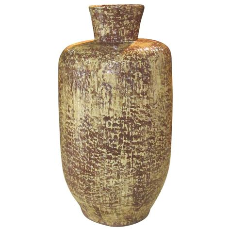 Large Yellow Vase Mid Century Large Brown Yellow Vase 1960s