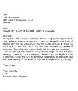 Appreciation Letter For Employee Performance Thank You Letters For Appreciation 9 Download Free