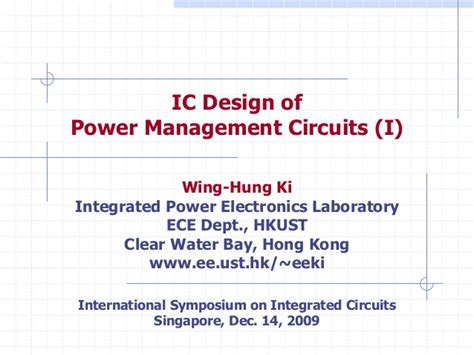 power management integrated circuits ic design of power management circuits i