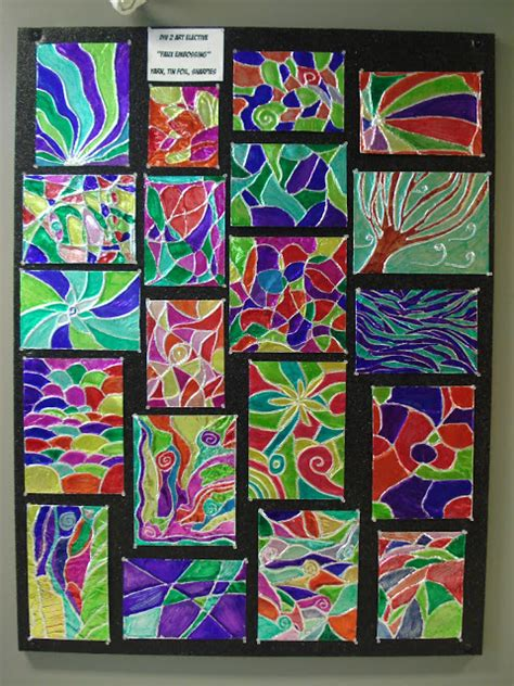 pattern art class a faithful attempt foil embossing tin foil and sharpies