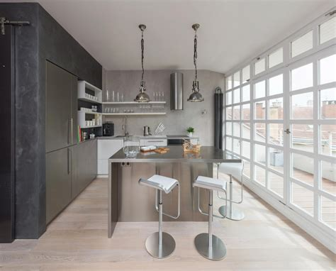 modern apartment kitchens modern attic loft with grey palette in prague