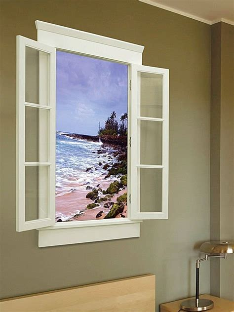 faux window escape adds a fake window to your batcave shows nature scenes