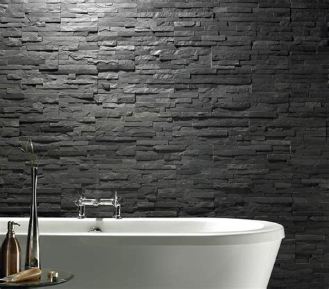 Slate Tile Bathroom by Uncalibrated Slate Linear Split Mosaic 30cm X 15cm Ebay