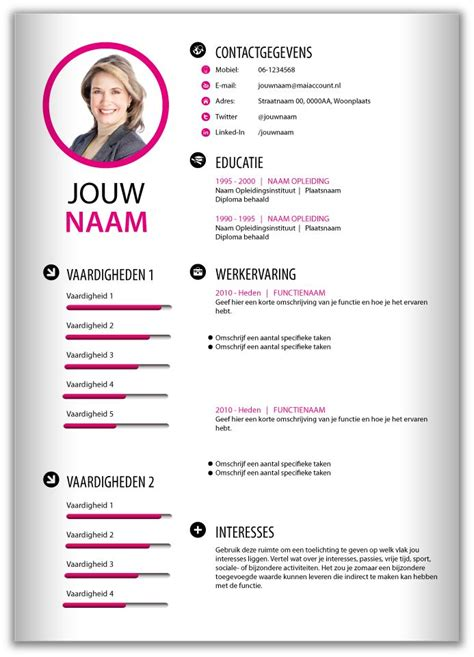 cv layout nederlands 46 best images about cv templates van mooicv 1pg on