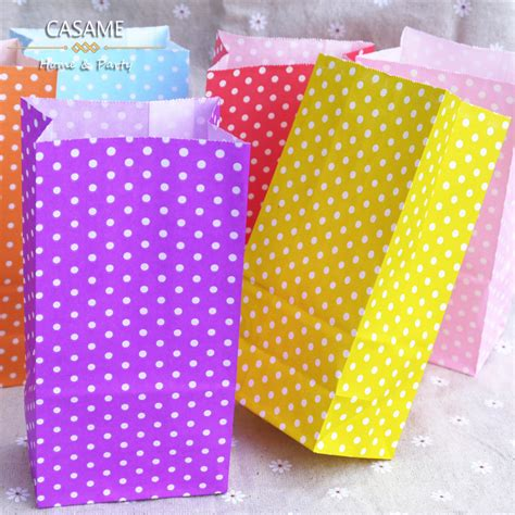 Standing Favor Bags promotion favor bag birthday stand up colorful polka dots paper bags 18x9x6cm favor bag open top