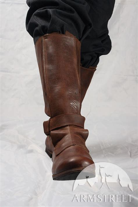 Handmade Leather Boots Renaissance - renaissance high leather boots for sca and reenacment for