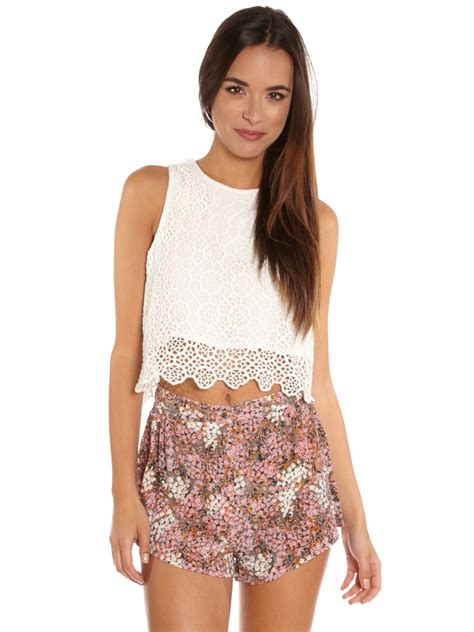 Top Lace Crop somedays lovin enough lace crop top in white