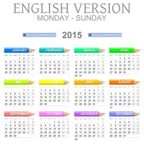 Calendrier Anglais Printable 2015 Calendar