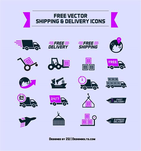 free shipping amp delivery vector icon set