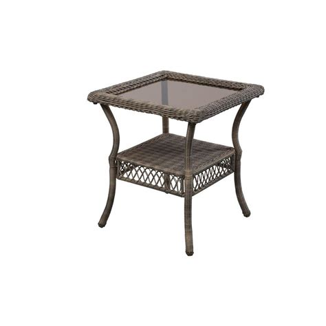 Outdoor Patio Side Tables Hton Bay Grey Wicker Outdoor Patio Side Table 65 20307 The Home Depot