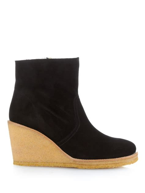 a p c s 232 vres suede wedge ankle boots in black lyst